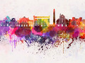Bari skyline in watercolor background - PhotoDune Item for Sale