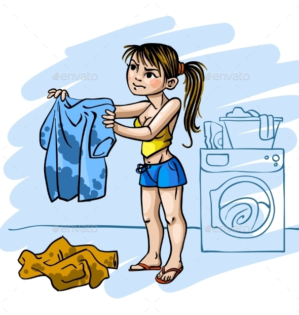 GraphicRiver Woman Doing Laundry 10678230