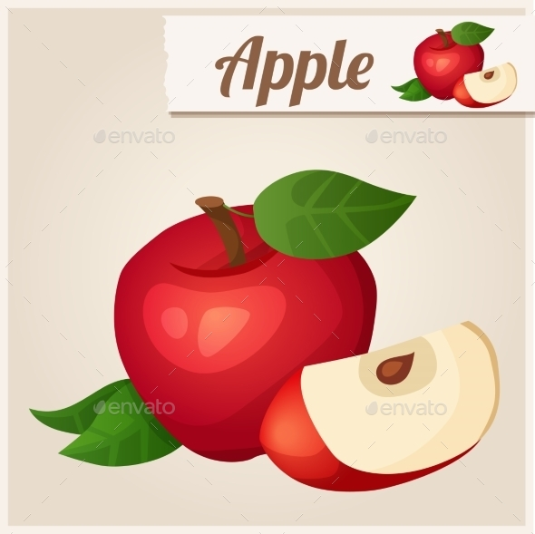 GraphicRiver Detailed Icon Red Apple 10678239