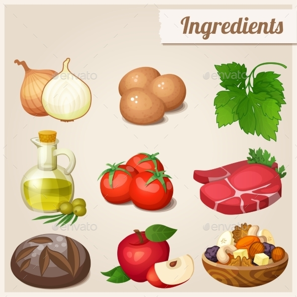 GraphicRiver Set of Food Icons Ingredients 10678332