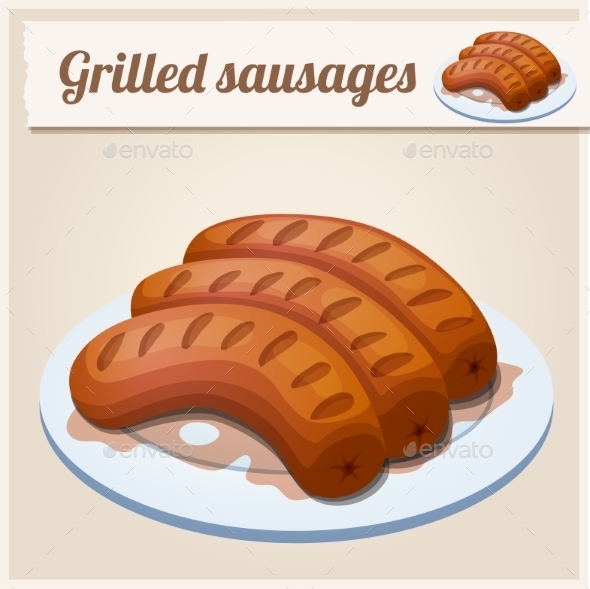 GraphicRiver Grilled Sausages Detailed Vector Icon 10678347