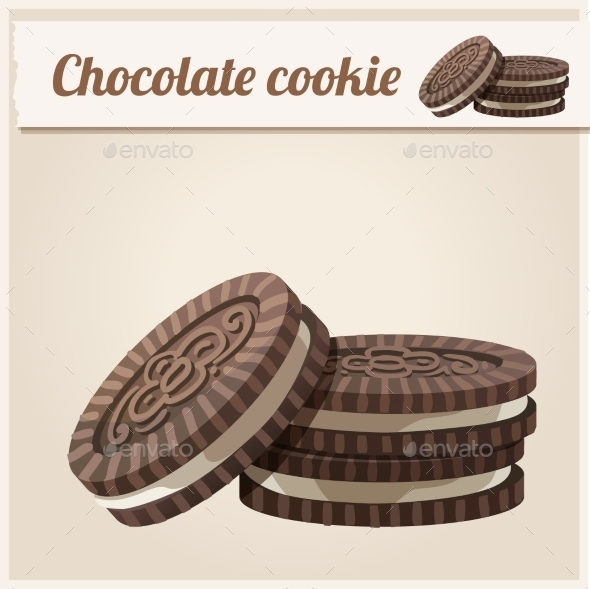 GraphicRiver Chocolate Cookie Detailed Vector Icon 10678348