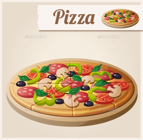 GraphicRiver Pizza Detailed Vector Icon 10678349