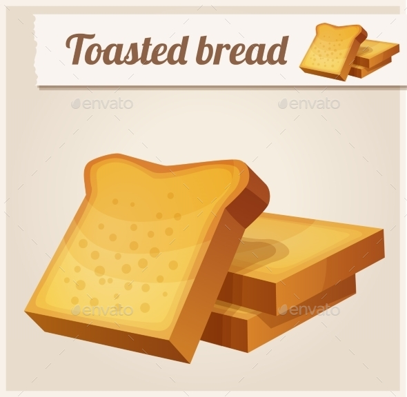 GraphicRiver Toasted Bread Detailed Vector Icon 10678371