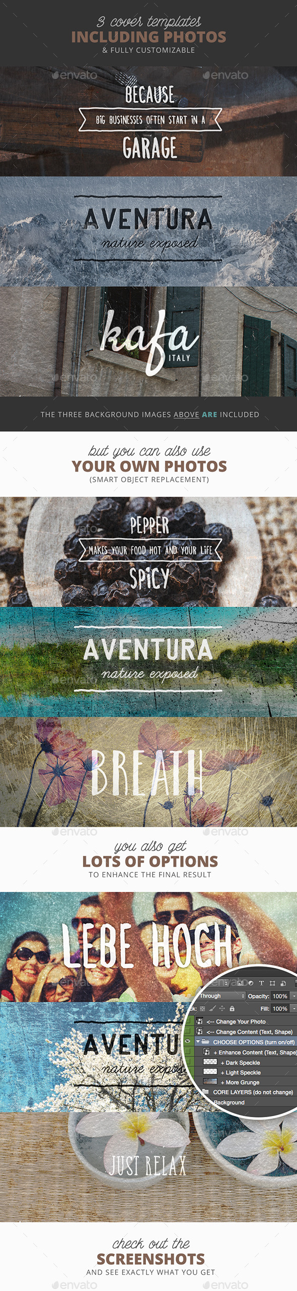 GraphicRiver Garaj 3 Grunge Facebook Timeline Covers 10660638