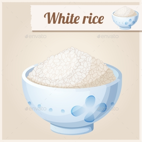 GraphicRiver Bowl of White Rice Detailed Vector Icon 10678380