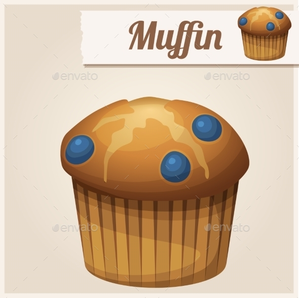 GraphicRiver Muffin with Blueberry Detailed Vector Icon 10678381