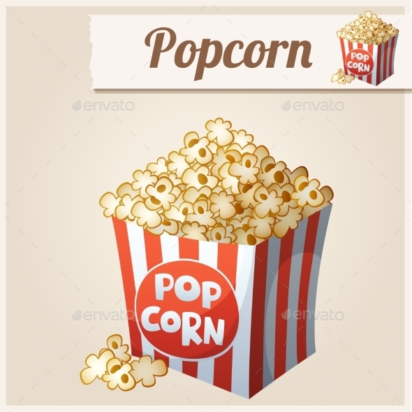GraphicRiver Popcorn Box Detailed Vector Icon 10678385