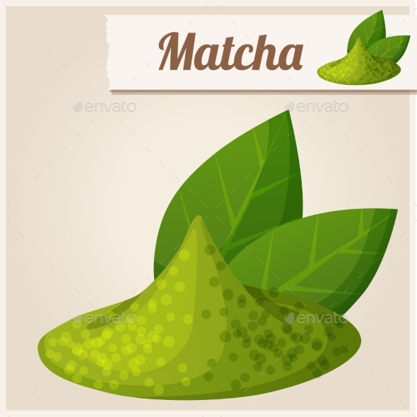 GraphicRiver Green Matcha Tea Detailed Vector Icon 10678387