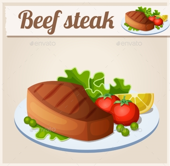 GraphicRiver Beef Steak Detailed Vector Icon 10678412