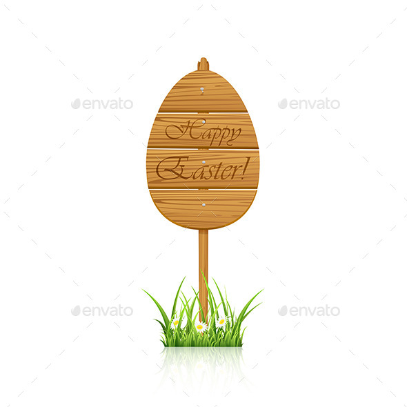 GraphicRiver Wooden Easter Sign 10678494