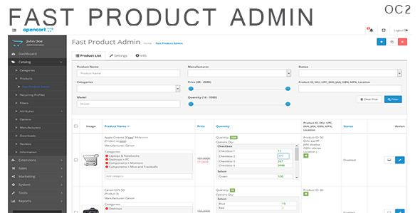 Fast Product Admin for OpenCart 2