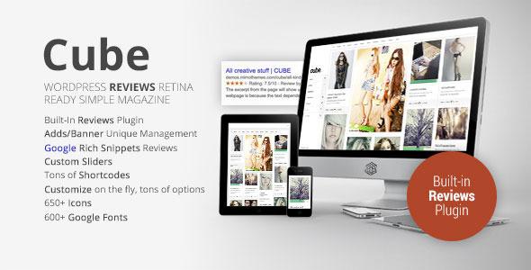 Cube, Multipurpose Simple Reviews Wordpress Magazine