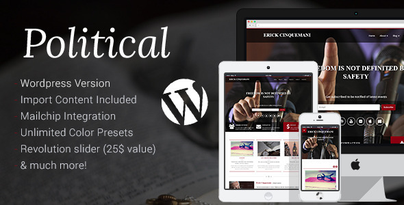 Political -  Candidate , Campaign  Wordpress Theme