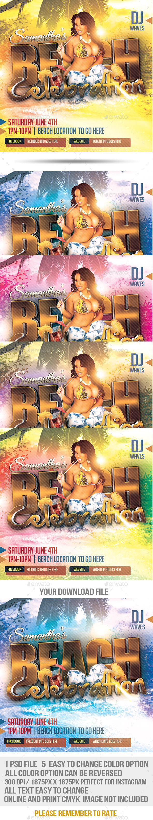 GraphicRiver Beach Celebration Promotional Flyer 10607156