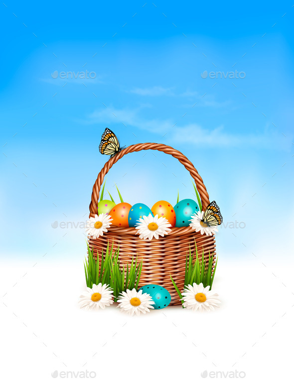 GraphicRiver Happy Easter Background Basket with Eggs 10679852