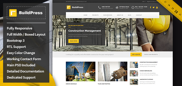 ThemeForest BuildPress Construction Business HTML Template 10644864