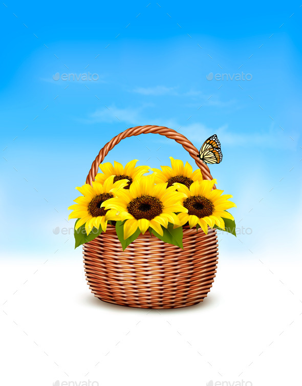 GraphicRiver Spring Background Basket Full of Sunflowers 10679933