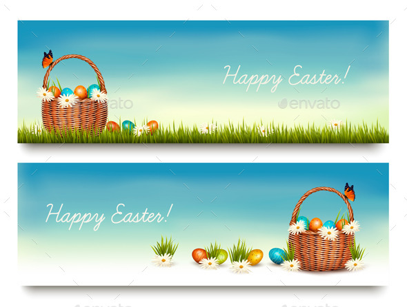 GraphicRiver Two Happy Easter Banners 10679964