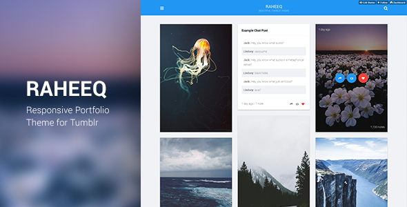 ThemeForest Raheeq Material Design Tumblr Theme 10680064