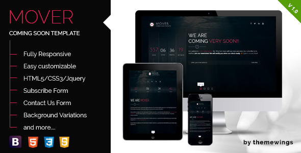 ThemeForest Mover Responsive Coming Soon Template 10606392
