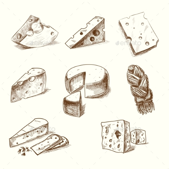GraphicRiver Hand Drawn Cheeses 10680816