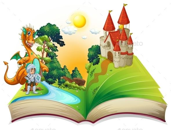 GraphicRiver Dragon and Book 10680837