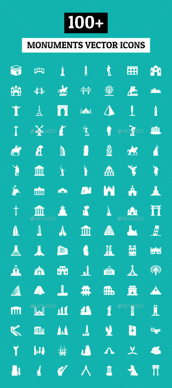 GraphicRiver 100& Monuments Vector Icons 10680996