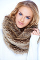 Close up Blond Woman in Furry Brown Scarf - PhotoDune Item for Sale