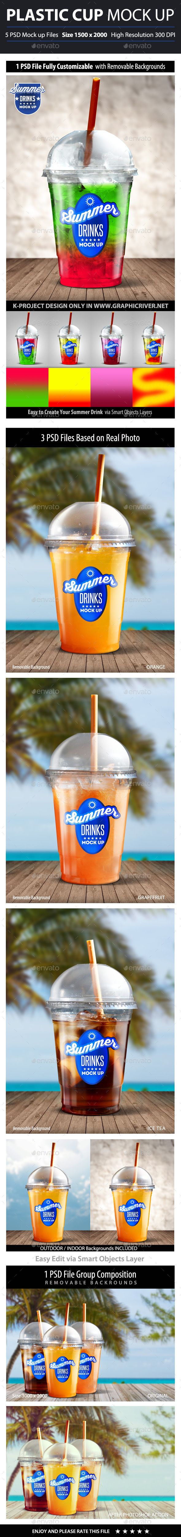 GraphicRiver Summer Drinks Plastic Cup Mock Up 10681352