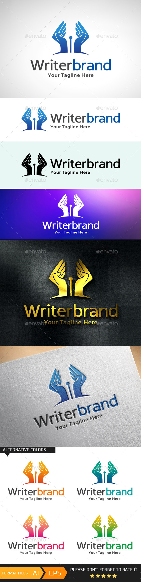 GraphicRiver Writer Brand Logo Template 10681487
