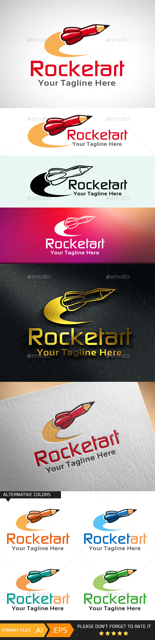 GraphicRiver Rocket Art Creative Logo Template 10681501