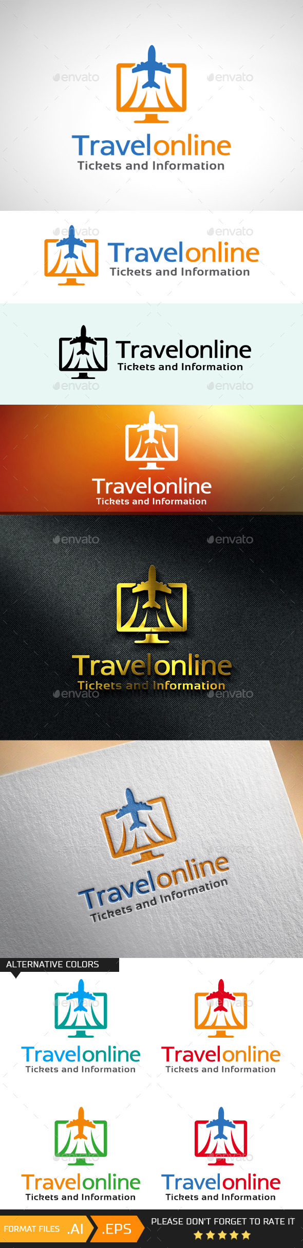 GraphicRiver Travel Online Ticket & Info Logo Template 10681524
