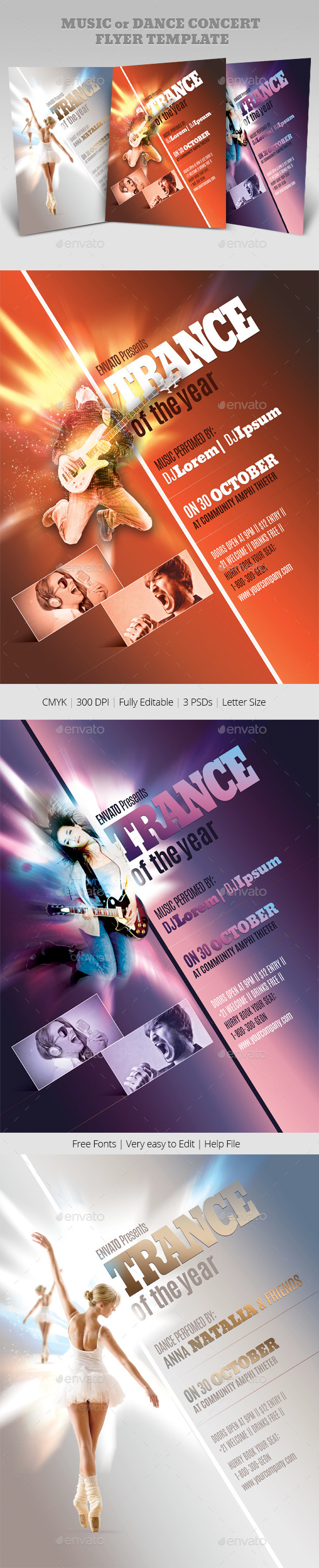 GraphicRiver Music or Dance Concert Flyer Templates 10538618
