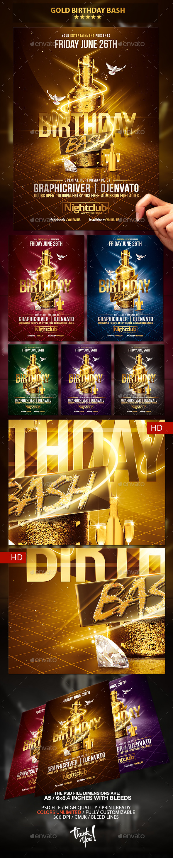 GraphicRiver Gold Birthday Bash Psd Flyer Template 10682689