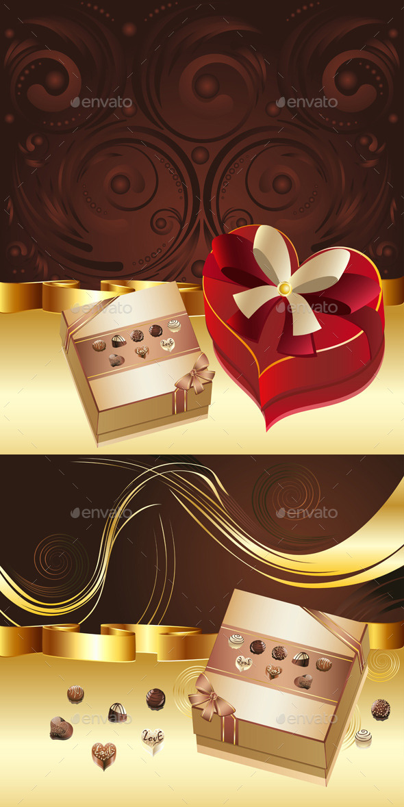 GraphicRiver Brown Background with Chocolate Box 10682994