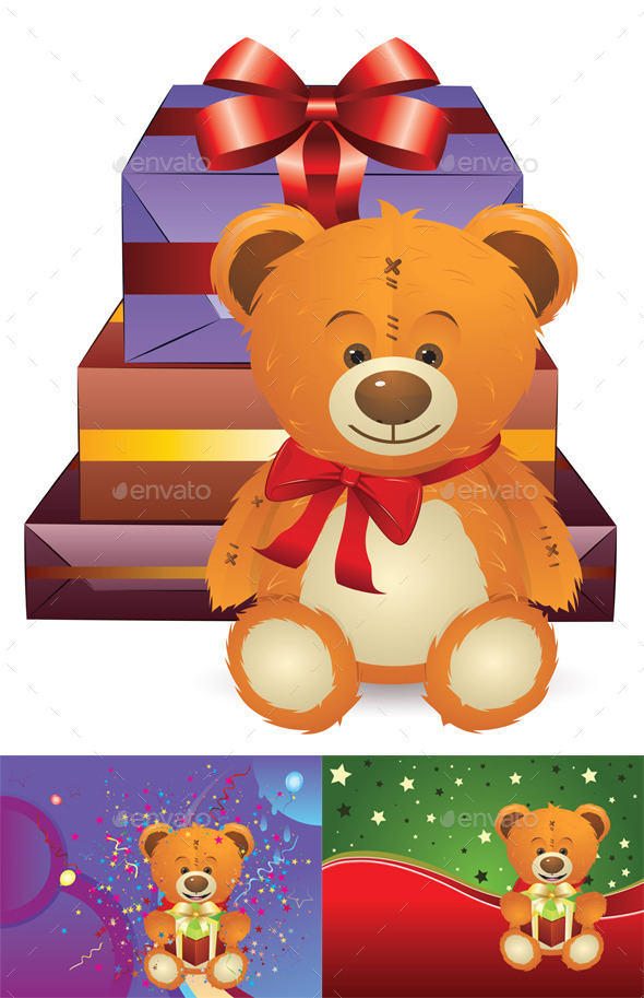 GraphicRiver Teddy Bear with Gift Box 10683062