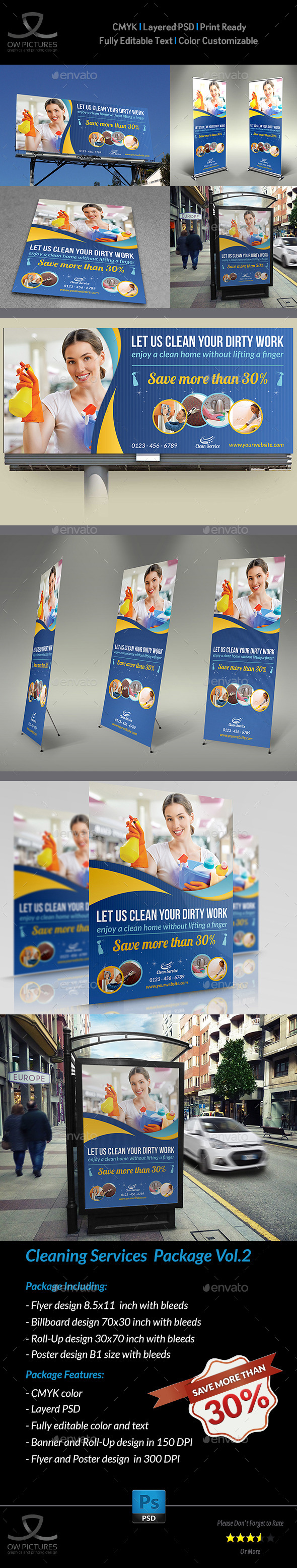 GraphicRiver Cleaning Services Advertising Bundle Vol.2 10683108