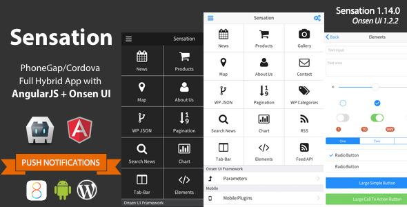 Sensation - PhoneGap / Cordova Full Hybrid App - CodeCanyon Item for Sale