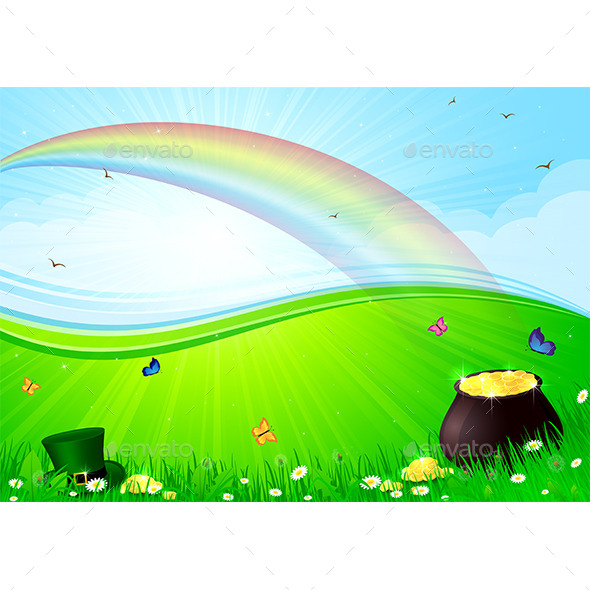 GraphicRiver Rainbow and Pot with Gold 10683535