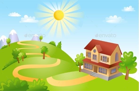 GraphicRiver Farm House Landscape 10683637