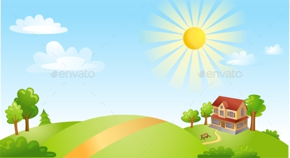 GraphicRiver Landscape with House 10683644