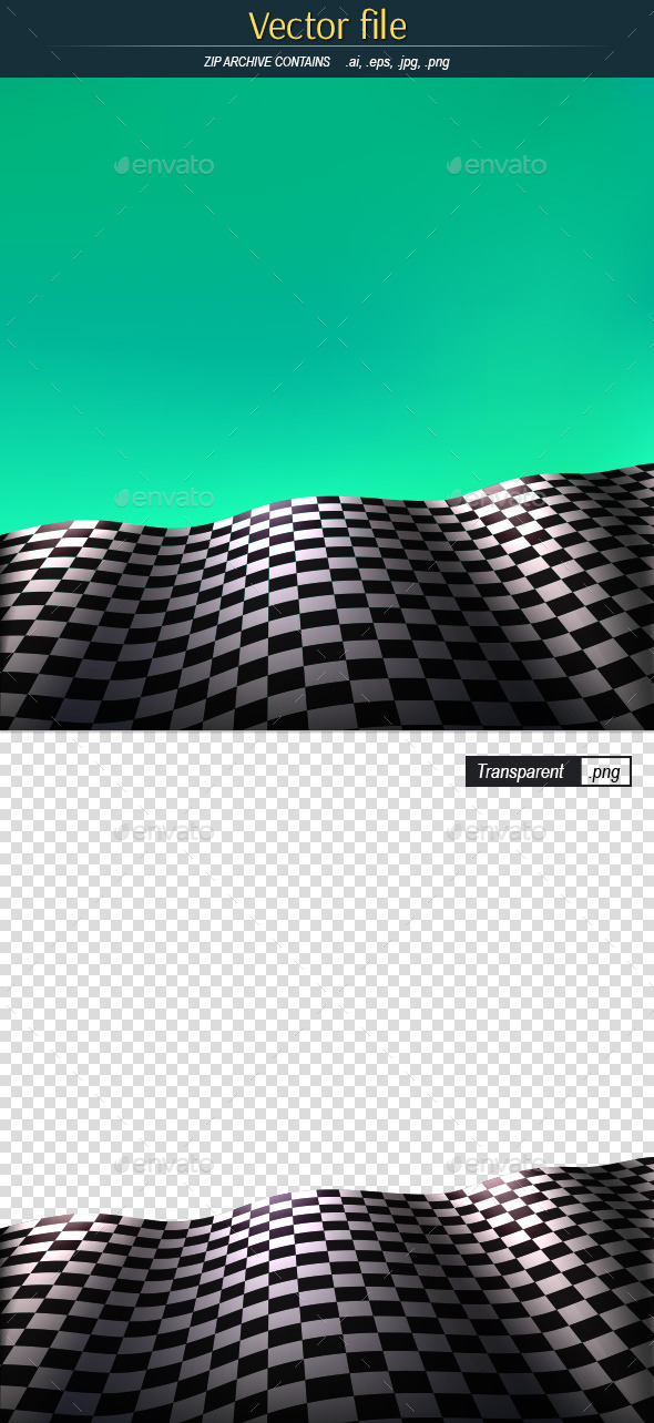GraphicRiver Checkered Flag on Green Background 10683772