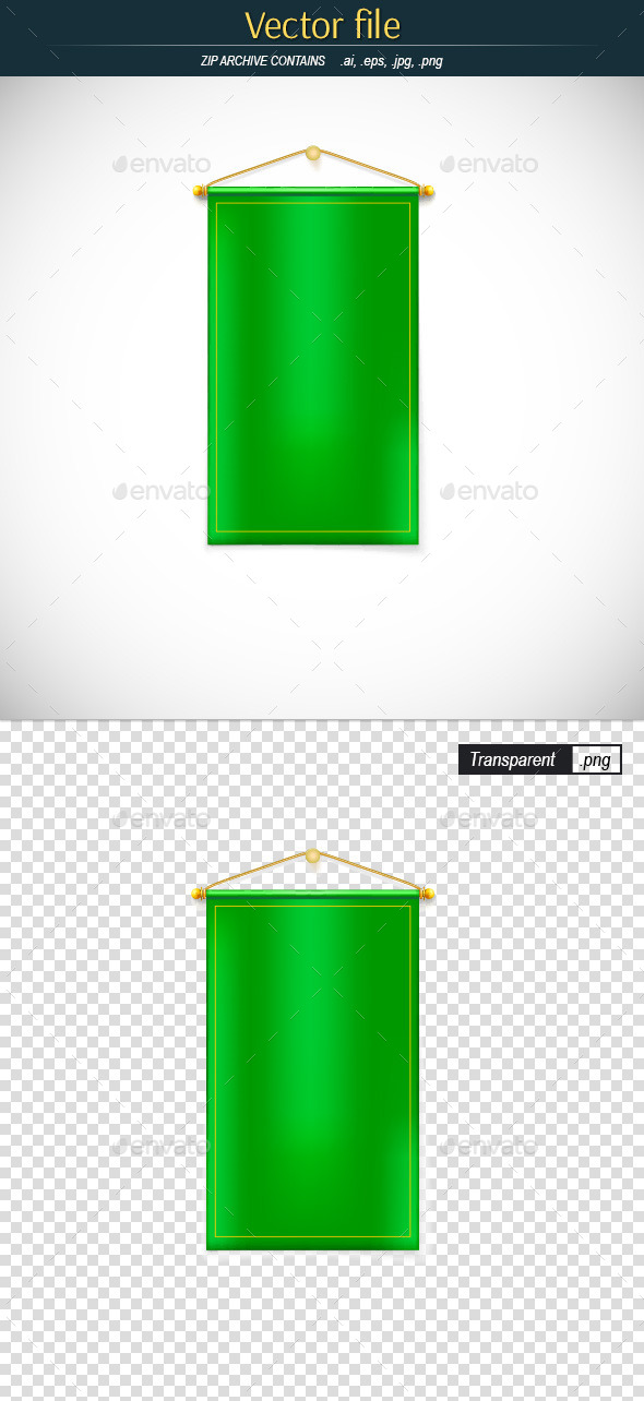 GraphicRiver Green Pennant Hanging on the Wall 10683793