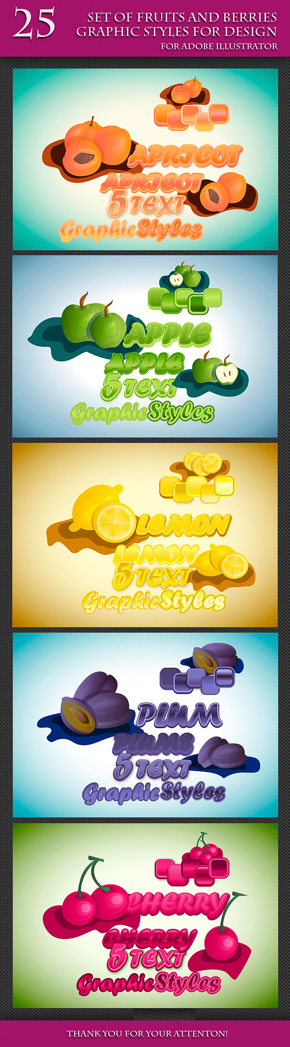 GraphicRiver Set of Fruits and Berries Graphic Styles 10684254