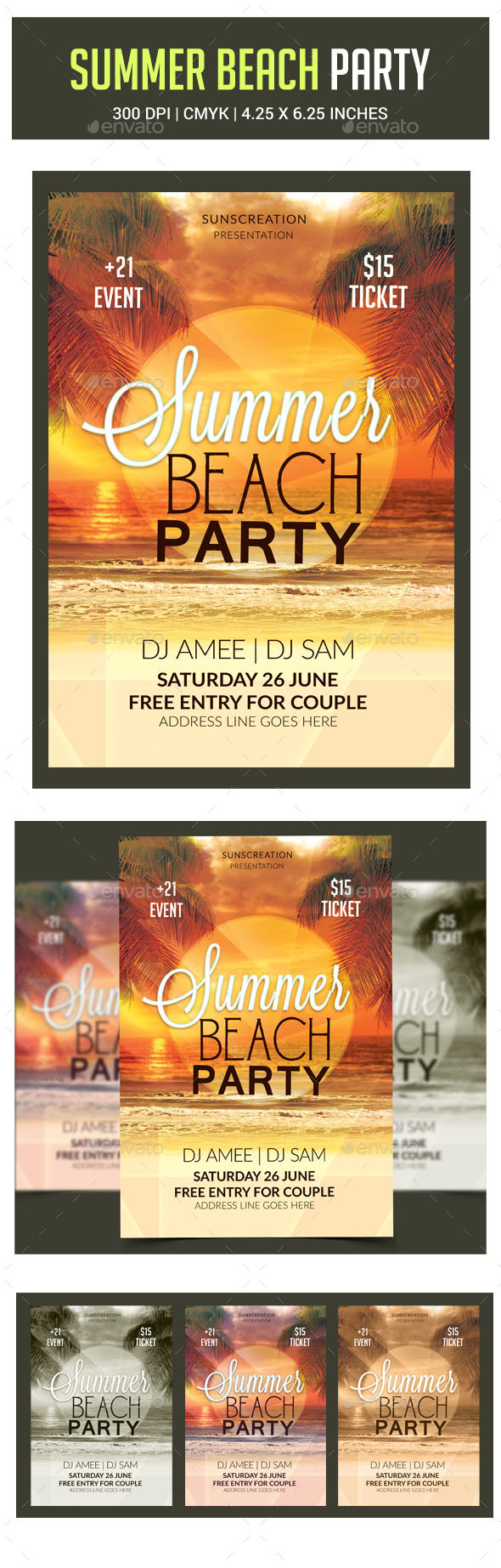 GraphicRiver Summer Beach Party Flyer 10684255