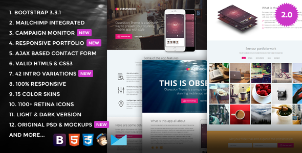 Obsession - Responsive Bootstrap App Landing Page