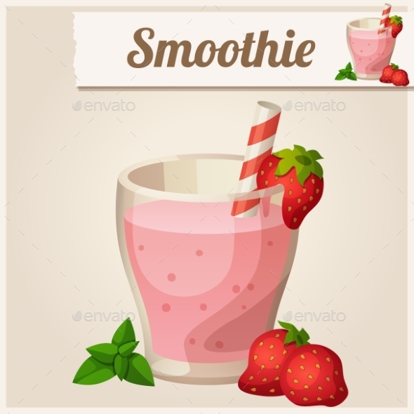 GraphicRiver Detailed Icon Strawberry Smoothie 10685091