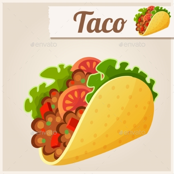 GraphicRiver Mexican Taco Detailed Vector Icon 10685092