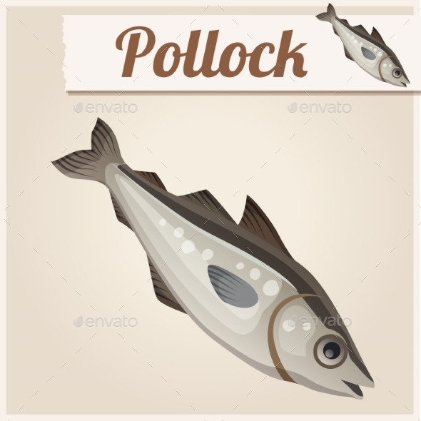 GraphicRiver Fresh Pollock Fish Detailed Vector Icon 10685097